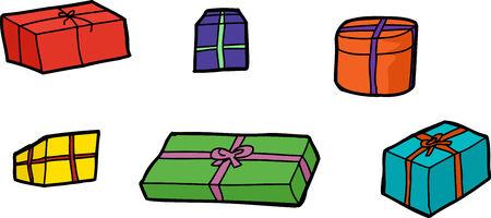 hand drawn cartoon: Seis dibujados a mano dibujo animado cajas de regalo sobre fondo blanco
