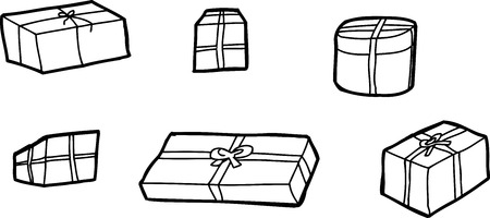 Six outline cartoon gift boxes over white background