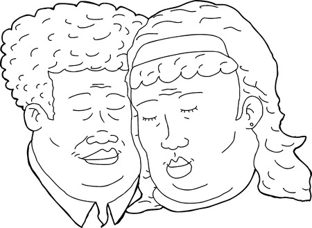 middle aged couple: Outline cartoon of happy African couple with eyes closed Illustration