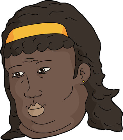 Cartoon of single woman with hair band over white