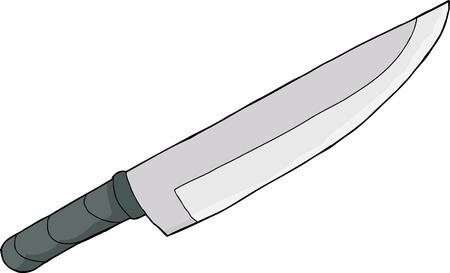 1 つの手漫画ナイフ白い背景上に描画