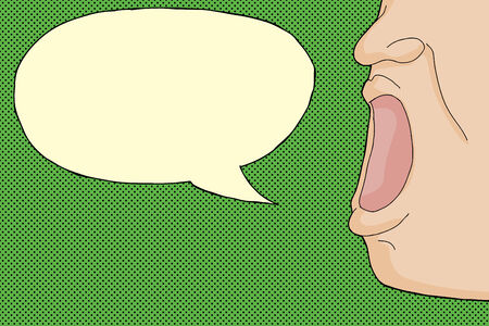 wide open: Person yelling with word bubble over green background
