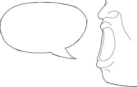 Schets van wijd open mond met woordbel