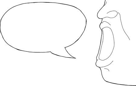 Outline of wide open mouth with word bubble
