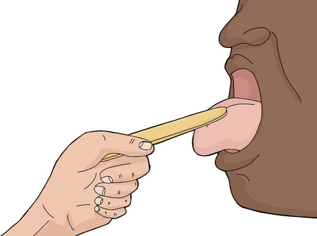 Black person with tongue out getting checkup Vector