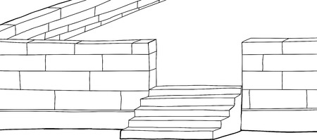 concrete stairs: Outline cartoon of patio with stairs background illustration
