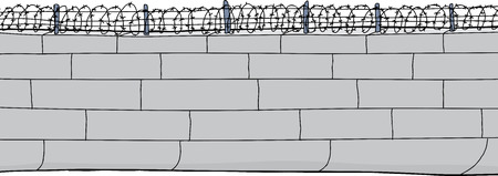 concrete block: Isolated cartoon of concrete block wall with barbed wire Illustration
