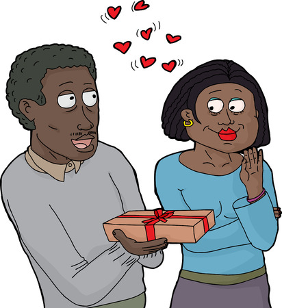 Man giving woman he loves a gift box Illustration