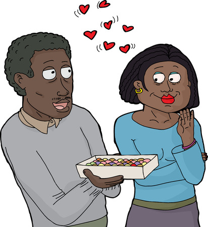 Isolated cartoon of loving couple sharing sweets