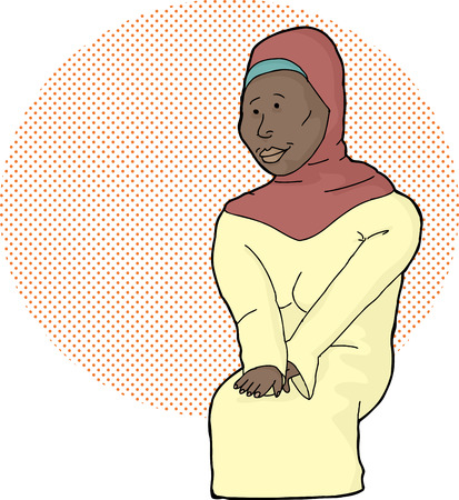Beautiful Muslim female in hijab over halftone background Vector