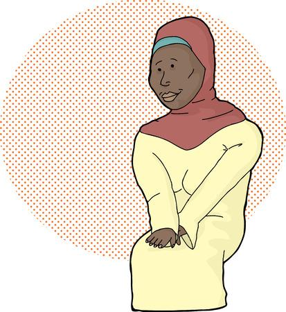 hijab: Beautiful Muslim female in hijab over halftone background