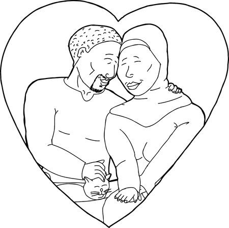 Outline cartoon of happy Muslim couple with pet cat Illusztráció