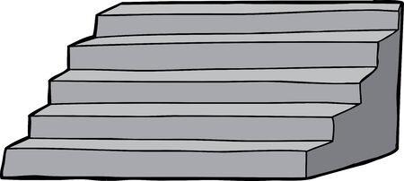 Isolated hand drawn concrete staircase over background Illusztráció