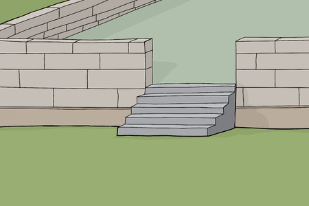 concrete stairs: Cartoon background of concrete block garden patio with stairs