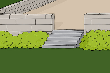porch: Hand drawn patio with stairs and shrubs outline