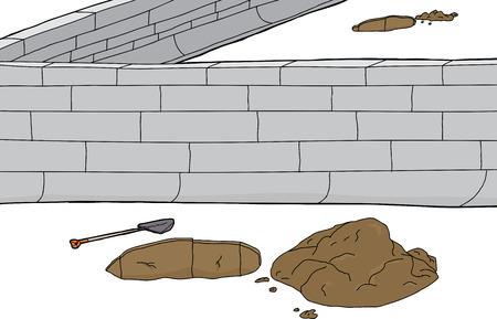 Holes and concrete block border over white background Illustration