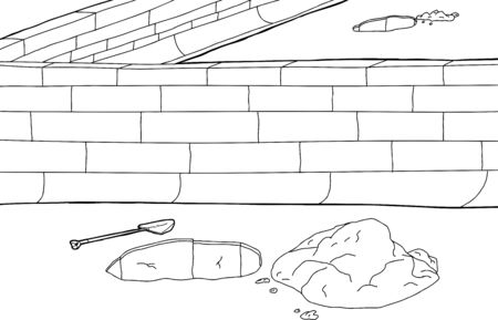 Outline cartoon of boundary wall with holes in ground Illustration