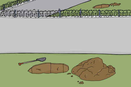 penitentiary: Blank cartoon wall with barbed wire and holes in ground Illustration