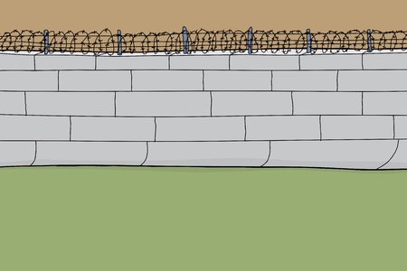 penitentiary: Hand drawn barbed wire wall cartoon background