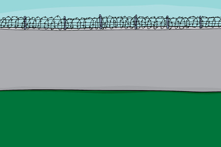 barbed wire: Background cartoon of concrete block wall with barbed wire Illustration