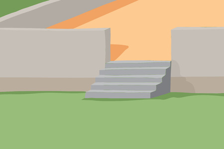 concrete stairs: Abstract concrete wall with stairs and patio background Illustration