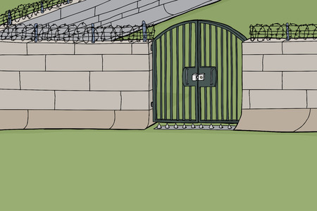 Background cartoon of concrete wall and gate with barbed wire Illustration