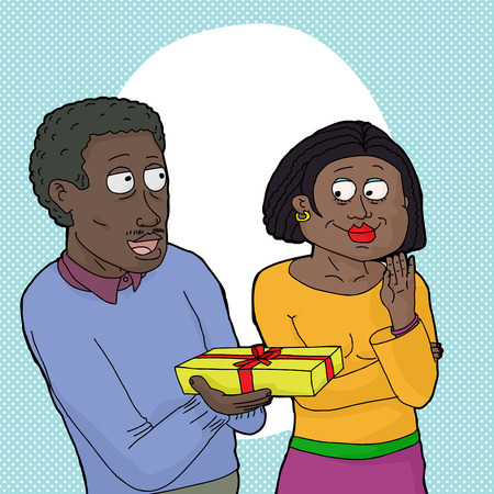 middle aged couple: Cartoon of close African couple over isolated white background