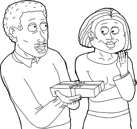 Outline of man with mustache giving flattered woman a gift