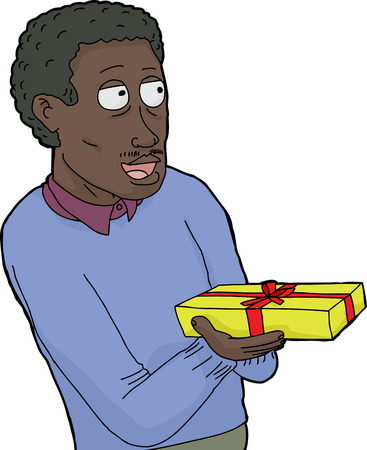 Mature African man holding a gift box
