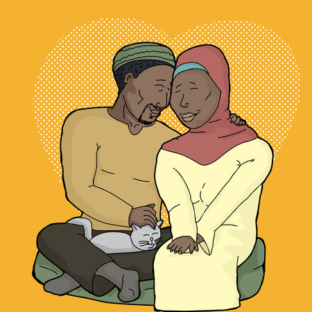 covering eyes: Attractive Muslim man and woman with pet cat Illustration