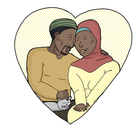 hijab: Happy bearded man with woman in hijab petting a cat