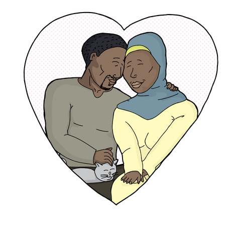 Isolated heart with loving Muslim couple and cat