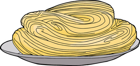 Isolated hand drawn cartoon of spaghetti in plate