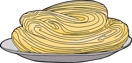 hand drawn cartoon: Mano aislada dibujo animado hecho de espaguetis en placa
