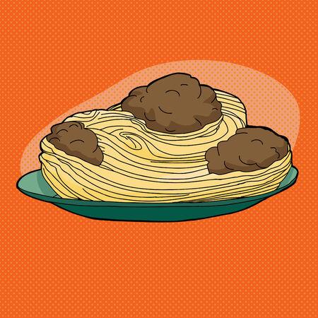 Noodles and meatballs in plate over orange background Illusztráció