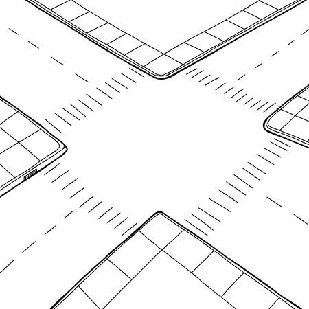 Empty hand drawn street intersection background cartoon Stock Vector - 34869644