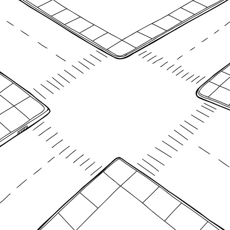 Empty hand drawn street intersection background cartoon Illustration
