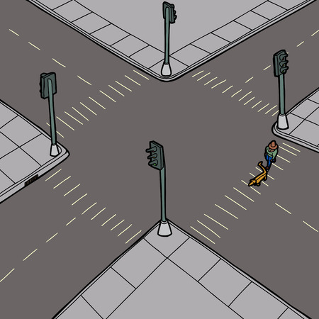Hand drawn cartoon of person walking dog across street Illustration