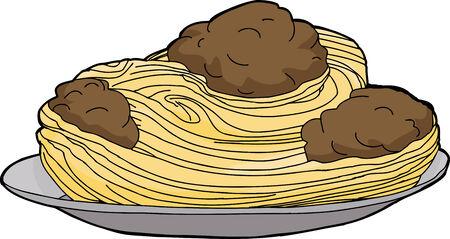 Big plate of spaghetti and meatballs over white background Illusztráció