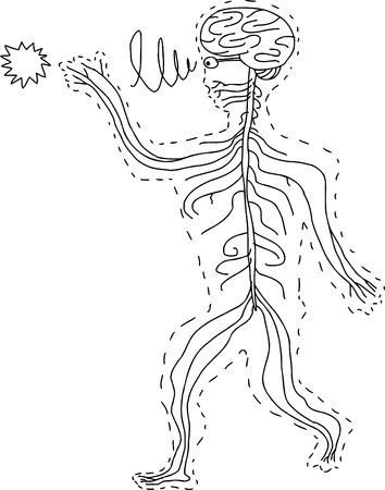 Abstract hand drawn cartoon of human sensory organs