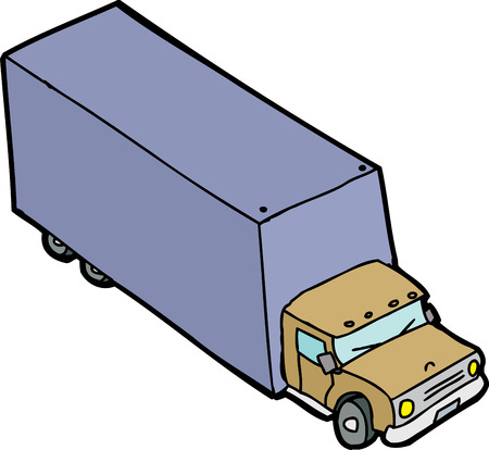 moving van: Single hand drawn moving van over white background