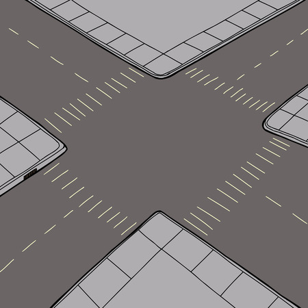 Birds eye view of empty road intersection