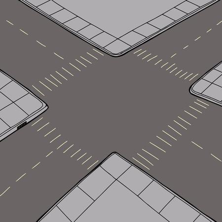 Birds eye view van lege weg kruising Stock Illustratie