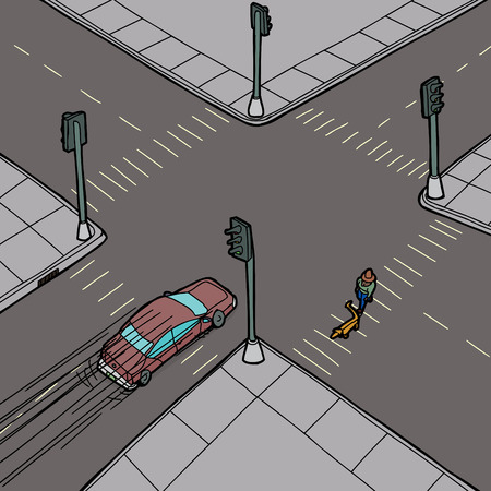 Car passing person walking dog across intersection