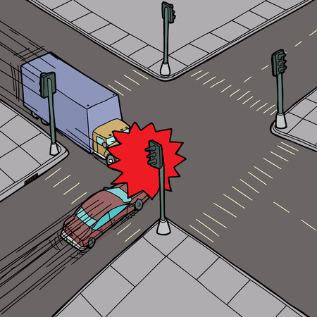 hand drawn cartoon: Car and truck colliding at intersection in street Illustration