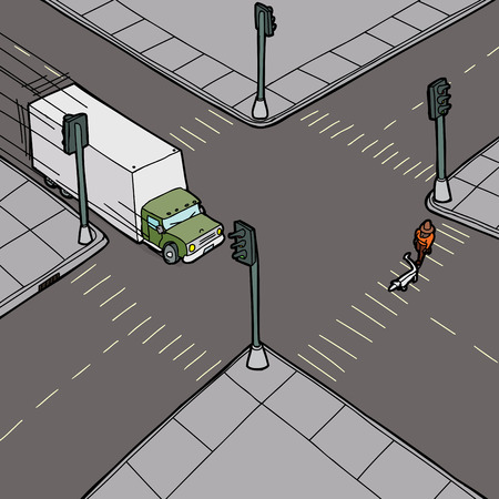 bad accident: Careless truck driving into person crossing the street Illustration
