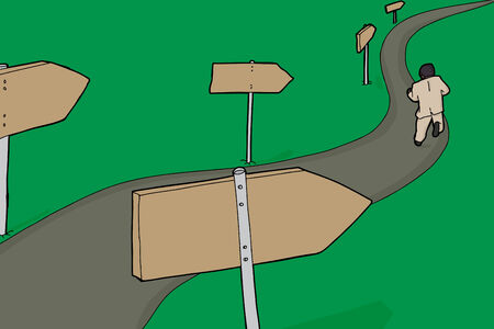 標識と道を実行している単一のビジネスマン