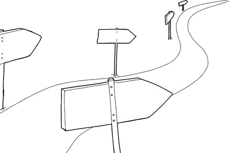 Cartoon outline of signs along winding road