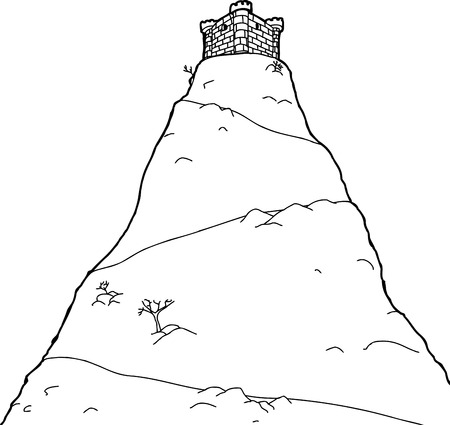 Outlined single castle on top of mountain peak Vector
