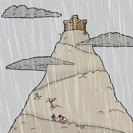 巡礼: 雨の城への旅行の馬を持つ騎士